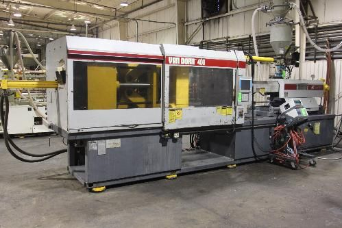 """(1993) Van Dorn 400-RS-48F-HT 400-Ton X 48-Oz Plastic Injection Molding Machine S/N 348, Toggle Clamp, Platen Size 42"""" X 42"""", Tie Bar Spacing 28.1"""" X 28.1"""", Maximum Daylight 52"""", Mold Height Range 8"""" Min. - 28"""" Max., 6"""" Ejector Stroke, Hydraulic Core Pull, Sigmatek Touch Screen Microprocessor Control, Machine #7.5"""