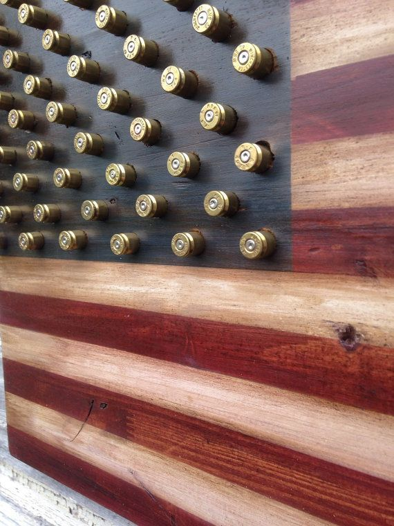 Military 2nd Amendment Wood American Flag W Brass Bullet Stars