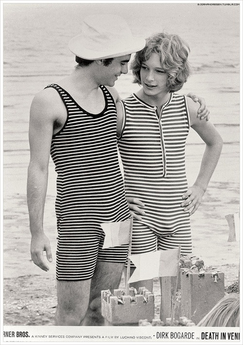 'Tadzio' Björn Andrésen (right) starring in Death in Venice, Visconti 1971....uno de los mas bellos jovenes jamas vistos !