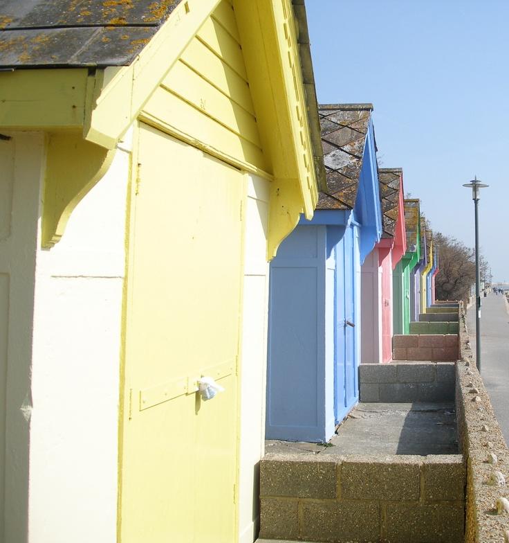 Beach Huts, Folkestone, England  Such pretty pastel colours
