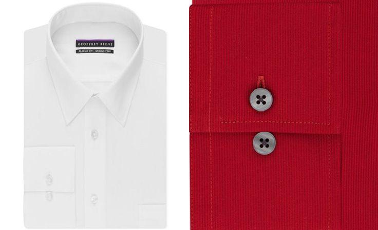 Geoffrey Beene Men's Classic-Fit Wrinkle Free Bedford Cord Dress Shirt - Dress Shirts - Men - Macy's