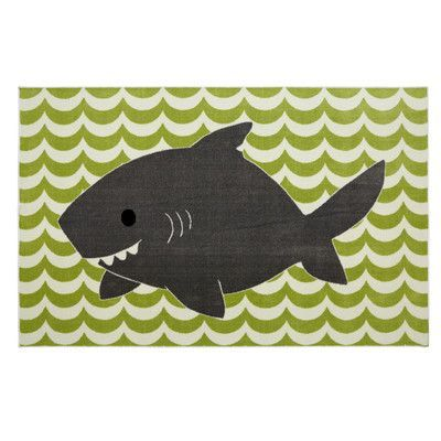 Mohawk Home Aurora Smiling Shark Lime Green Area Rug