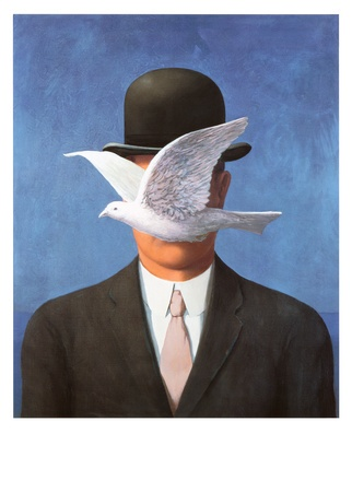 L'Homme au Chapeau Melon by Rene Magritte. Art print from Art.com.: Bowler Hat, Art, Renemagritte, Rene Magritte, Painting, The Hat, Derby Hat