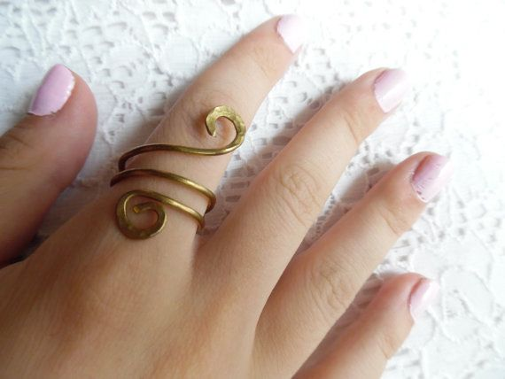 Gold ring brass wrap around ring forged ring by iamatique on Etsy