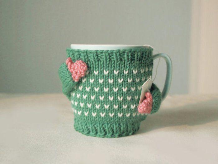 Kahve Kupaları İçin Süper Şirin Örme Kazaklar | Az Şekerli