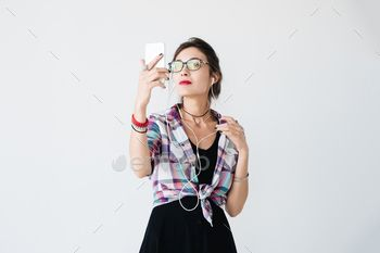 Pretty girl taking selfie