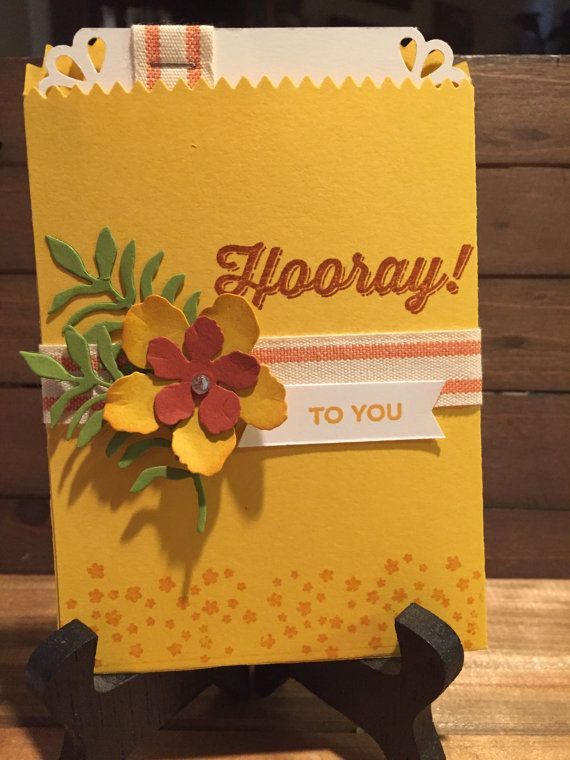 Stampin Up Mini Treat Bag Gift Card Holder Crushed Curry Botanical Blooms Botanical Builder Framelits Flowers Rhinestone Cajun Craze