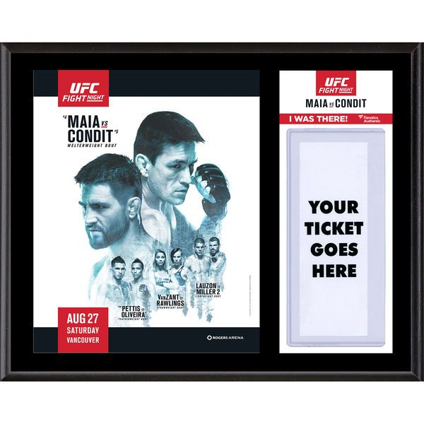 """Fanatics Authentic UFC Fight Night Demian Maia vs. Carlos Condit Dueling """"I Was There"""" 12"""" x 15"""" Sublimated Plaque - $39.99"""