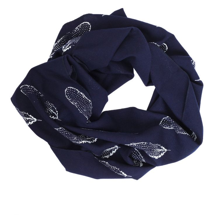 Navy with White Feather Linen Infinity Scarf by Fionna Hanna