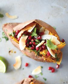 Sweet Potatoes with Coconut, Pomegranate, and Lime {recipe}