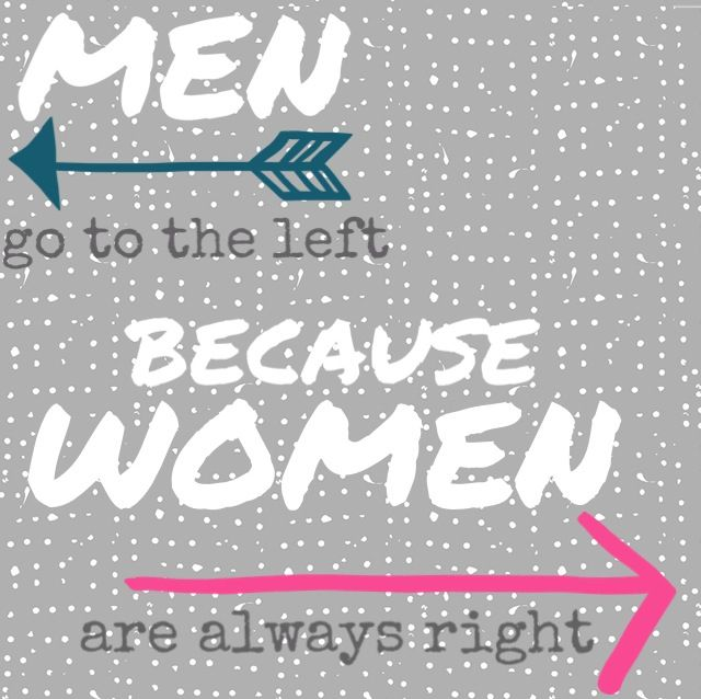 Men and women - men go the left, because women are always right