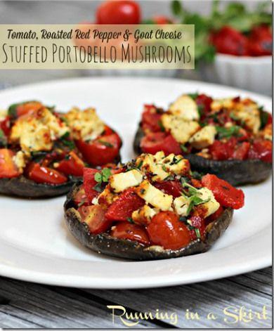 Tomato, Roasted Red Pepper & Goat Cheese Stuffed Portobello Mushrooms- tasty side dish or vegetarian main course!