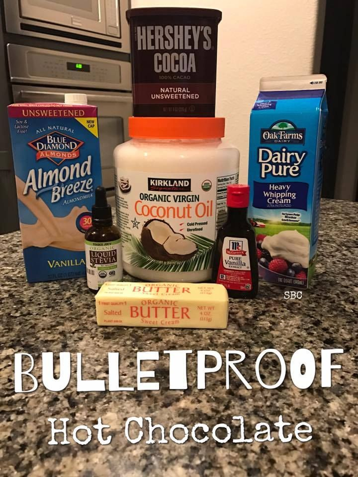 1 cup heavy whipping cream 1/2 cup unsweetened almond milk 1 tablespoon organic sweet cream butter 1 tablespoon organic coconut oil 2 tablespoons Hershey's Cocoa 1/2 teaspoon vanilla extract STEVIA to taste Combine all ingredients EXCEPT STEVIA in small pot and heat on stove, stirring constantly. Let it come to a boil for a moment and then allow it to cool. Blend for a frothy consistency if desired. Add STEVIA to your taste. Enjoy! ❤