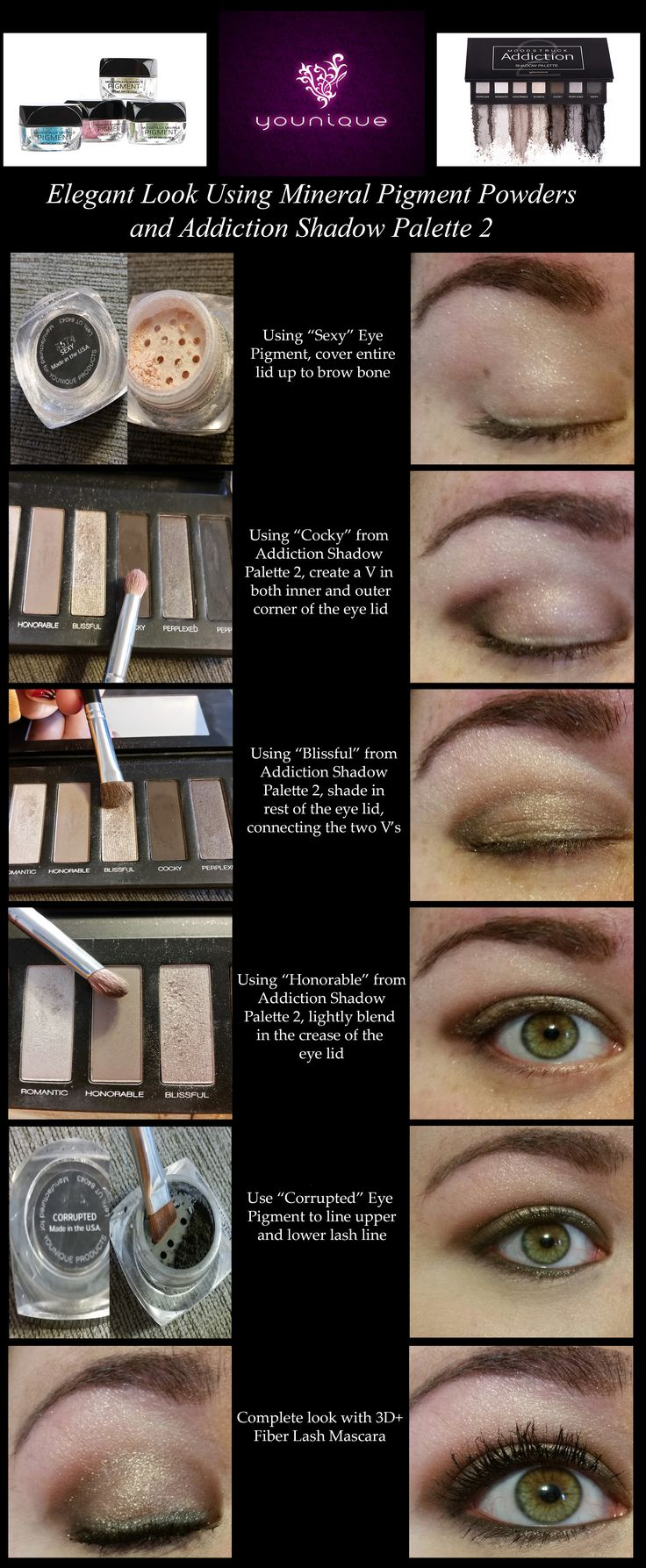 An easy elegant look using Younique's Addiction Shadow Palette 2 and Mineral Pigment Powders! - www.TheLashObsession.com
