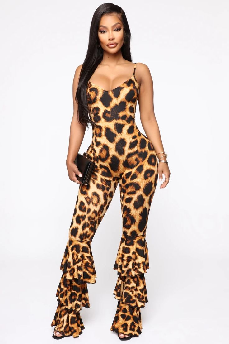 Mamacita Ruffle Jumpsuit Leopard in 2020 Ruffle