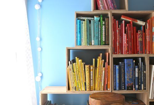 Crate shelving for book storage/display  DIY Crate Shelving - Make a set of 15 for $125