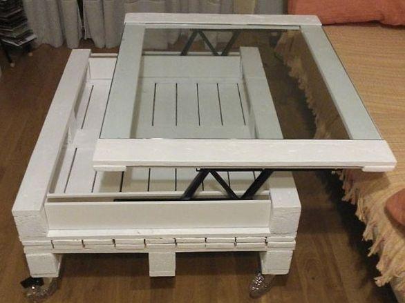 Moebel Aus Paletten Bauen DIY Couchtisch Weiss Mit Glas
