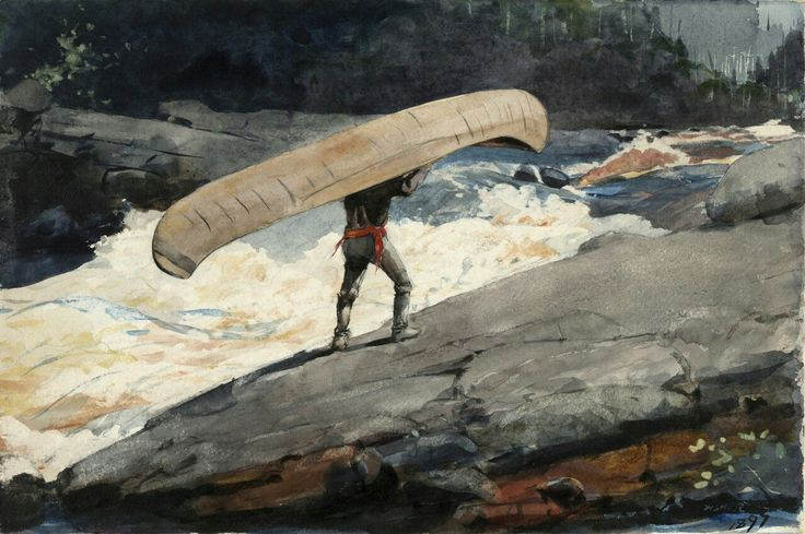 WINSLOW HOMER The Portage Watercolor 14″ x 21″