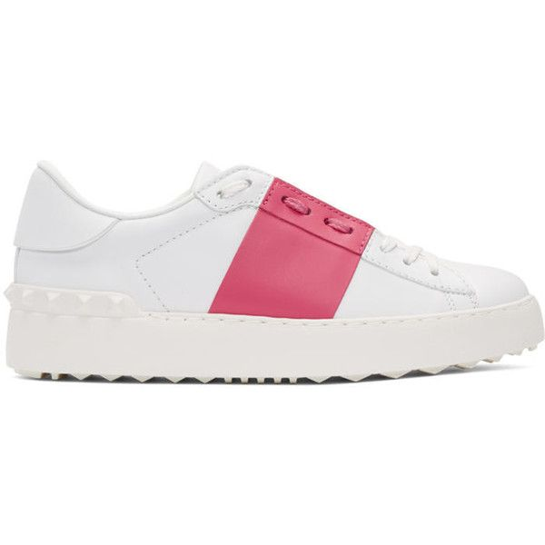 Valentino White and Pink Valentino Garavani Open Sneakers ($660) ❤ liked on Polyvore featuring shoes, sneakers, white, pink shoes, white low tops, round toe sneakers, lace up shoes and white low top shoes