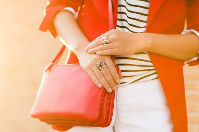 Red Leopard :: Crimson blazer & Lucite necklace