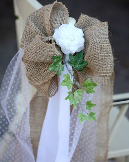Burlap and Lace Pew Bows Ooo burlap or canvas? Or.......fishnet....