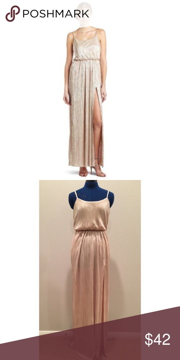 Metallic Maxi Dress ⚡️ BCBG Metallic Maxi dress with adjustable straps and pockets! Long slit on right side, very flowy and soft. BCBG Dresses Maxi