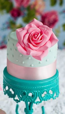 Rose Mini Cake --- The cake stand is pretty neat as well  :)