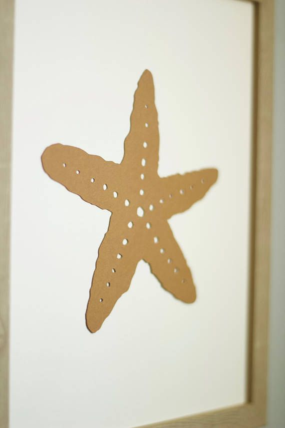 Sea life brown 4 set. Set of 4 wall pictures Sea life made of special, thick, creative paper, with 3D effect (it's not printed). Wall paper art | Wall decor | Wall art | Wall print art | Paper home decor | paper cut | picture | minimalistic | starfish | shell | seaweed | nautical | sea life | home and living