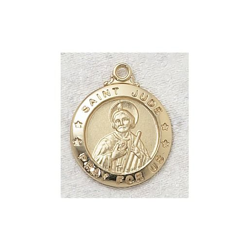 Gold/Sterling Silver St. Jude Medal with 20 inch chain