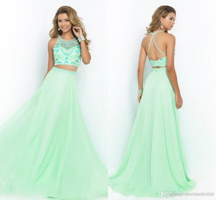 Wholesale cheap prom dress online, 2014 fall winter - Find best light green two piece prom dresses crew sleeveless beading sleeveless sexy A line pageant party gowns backless sweep train chiffon new sdd at discount prices from Chinese prom dresses supplier on DHgate.com.