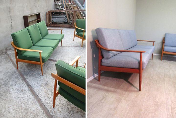 Liebe Vintage-Freunde, Ein Kundinnenpaar hat sich spontan in diese Traummöbel (Sofa + ein Sessel) und zwei weitere Sessel aus unserem Sortiment verliebt und die Aufarbeitung in Auftrag gegeben. Ein Teil des Auftrags ist jetzt fertig gestellt und das möchten wir euch natürlich nicht vorenthalten! #KnollAntimott #KnollSofa #KnollCouch #Sofaneubeziehen #DänischesSofa #DänischesDesign #dansk #SofaPolstern #SofaBeziehen #VintageMöbel #Vintage #VintageFurniture #RetroMöbel #Retro #RetroFurniture