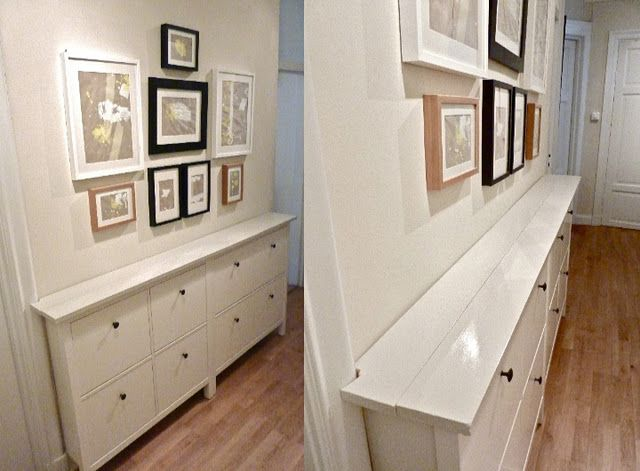 DIY IKEA!  These slim storage cabinets hold shoes, etc.  These have been hacked to look like one finished unit.
