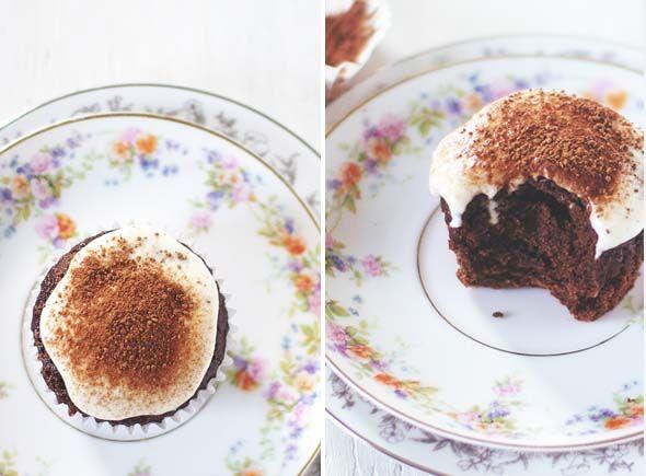 Chocolate cupcakes [apple cider vinegar] with Cashew coconut cream