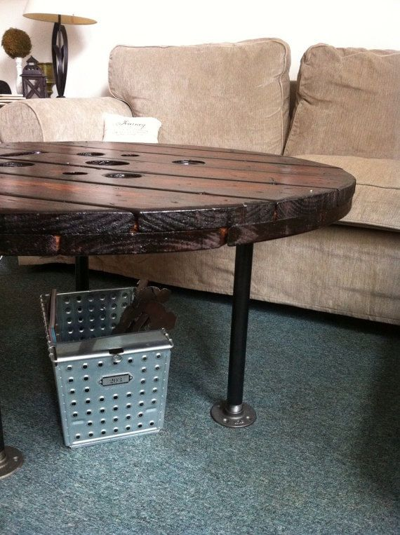 Upcycled Large Spool Coffee Table Coffee Table Round By Hansonhaus Diy Pinterest Discover