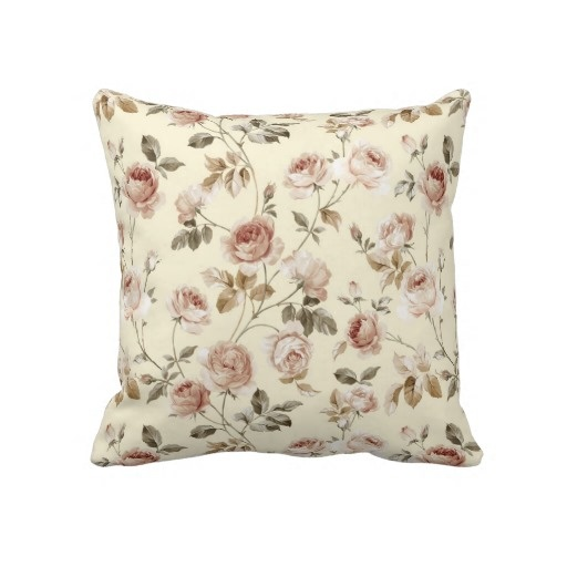 Vintage roses pattern throw pillows