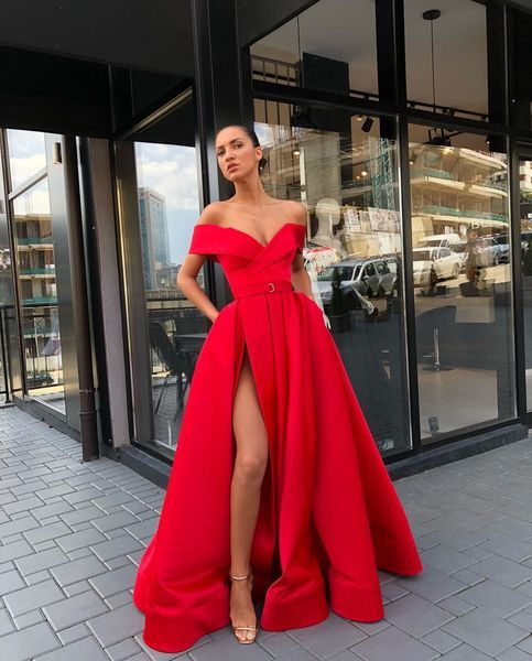 Princess Off The Shoulder Red Prom Dress A Line Formal Evening Gown With High Slit