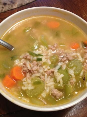 Ground Turkey and Rice Soup from Food.com: I came up with this recipe by simply wanting a yummy, healthy soup with what I had in my fridge... added a little of this and that... and now I make it all the time!