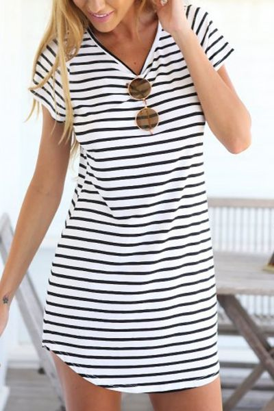 Short Sleeve Stripes Dress. Throw on cute little sneakers or flip flops and it's a casual day at the beach:)