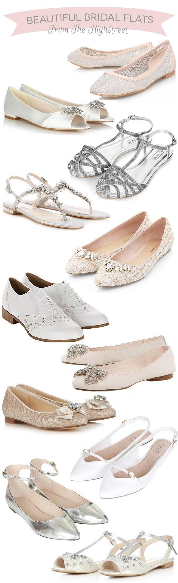 Beautiful Flat Bridal Shoes from The Highstreet   www.onefabday.com