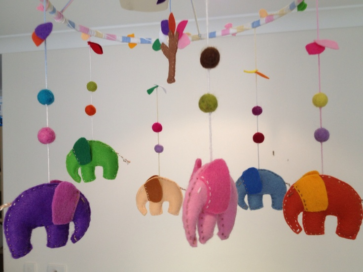 Colorful elephant mobile:)