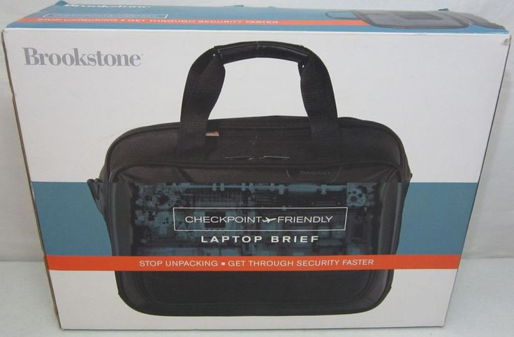 Black Brookstone Checkpoint Friendly Computer Laptop Briefcase Clear Security #Brookstone