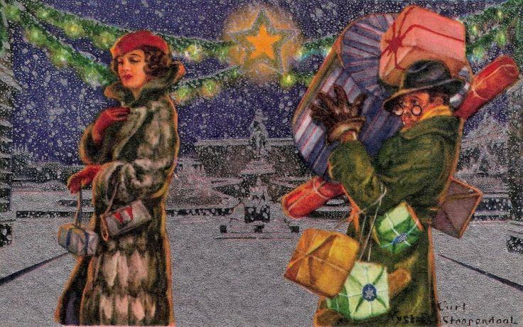 Curt Nyström-Stoopendaal (Swedish, 1893-1965) Julhandeln (Рождественские покупки). Кстати, Курт - сын тот самой знаменитой Дженни Нистрём, которая много рисовала детишек, рождественских гномиков нисси и само Рождество.