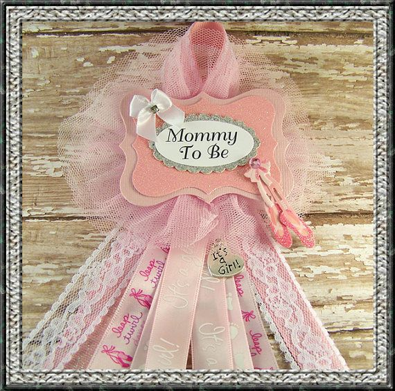 Ballerina Mommy To Be Corsage Baby Shower Corsage Mom Badge Mom Corsage Ballet Corsage on Etsy, $14.00