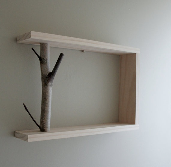 Natural birch wood shelf! So cool! I could make this. I'd like to paint the wood or something though and leave the branch natural.
