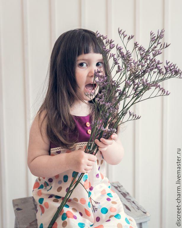 Задорный фиолетовый летний сарафан в горох - темно-фиолетовый, в горошек, хлопок, вискоза