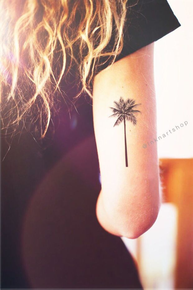 2pcs Palm Tree tattoo 2 sizes - InknArt Temporary Tattoo beach summer vacatoin floral travel arm wrist tattoo illustrated fake tattoo small