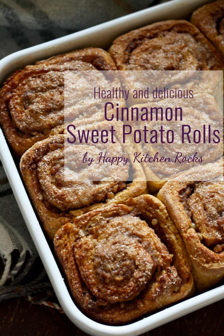 Healthy Cinnamon Sweet Potato Rolls recipe, perfect for Thanksgiving or Christmas breakfast or brunch. These rolls are delicious, moist, fluffy and easy to make!