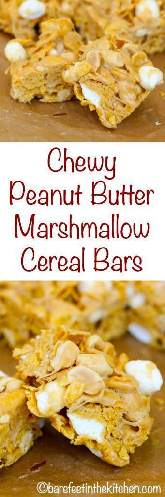 Chewy Peanut Butter Marshmallow Cereal Bars - get the recipe at http://barefeetinthekitchen.com