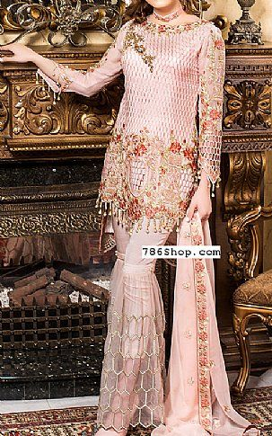 Pink Chiffon Suit | Buy Maryams Pakistani Dresses and Clothing online in USA, UK