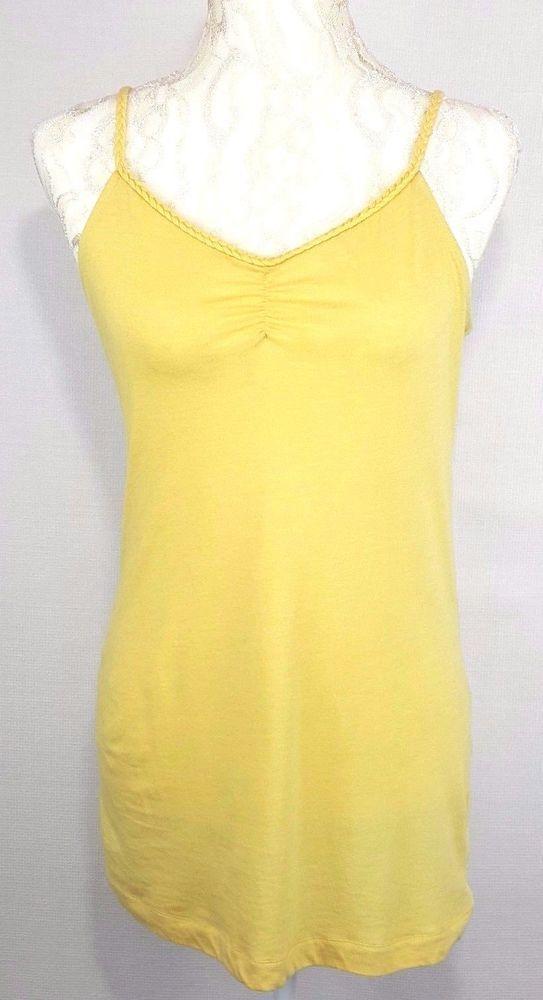ac3d3904cabc8 Mudd Womens Top Size Medium yellow tank shirt adjustable strap gathered V  Neck  Mudd  Cami  Any